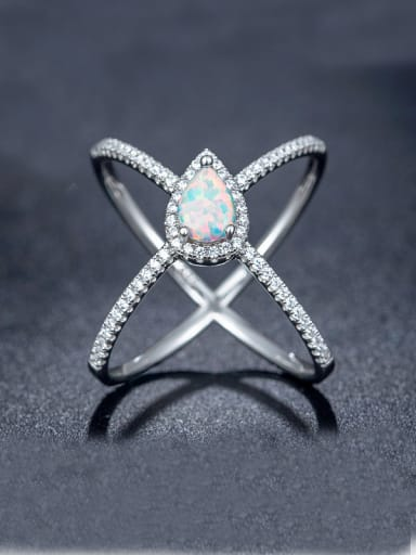 Opal Stone Cross Ring