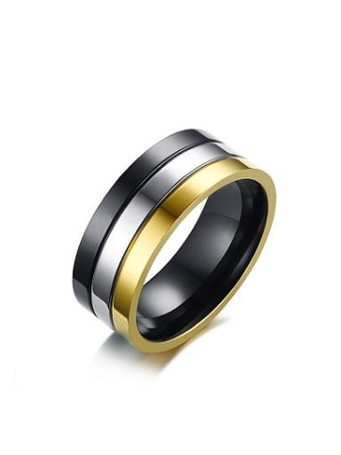 Delicate Three Color Design Geometric Shaped Titanium Ring