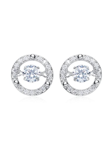 Simple Cubic Rotational Zircon Hollow Round 925 Silver Stud Earrings