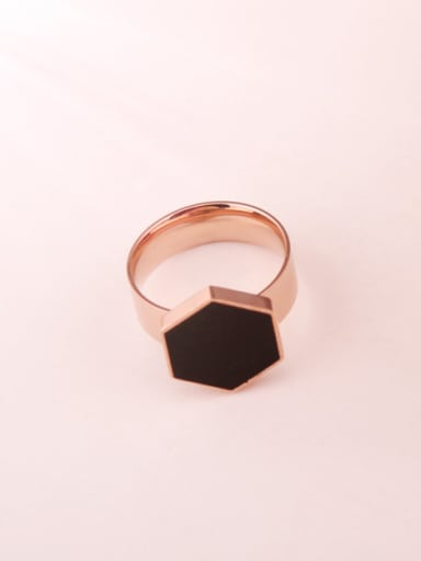 Black Glue Geometric Women Ring