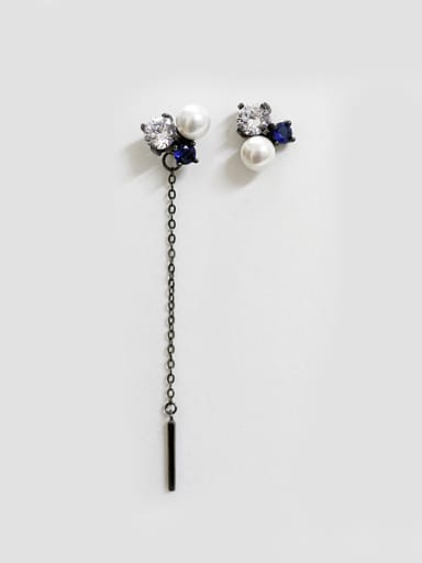 Fashion Artificial Pearl Cubic Zirconias Silver Stud Earrings