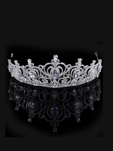 Micro Pave Zircons Crown-shape Copper Hair Accessories
