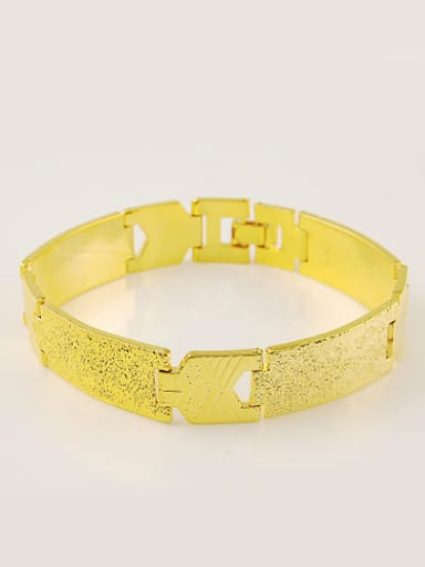 Men Exaggerated 24K Gold Plated Geometric Shaped Copper Bracelet