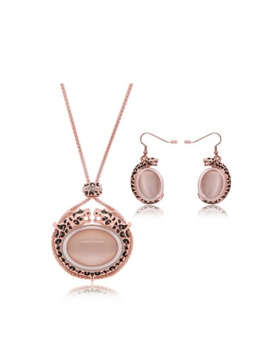 Alloy Rose Gold Plated Fashion Artificial Stones Leopard Two Pieces Jewelry Set