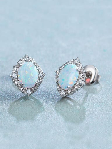 2018 Round Opal Stone stud Earring