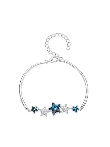 Fashion Blue Swarovski Crystal Stars Zircon Bracelet