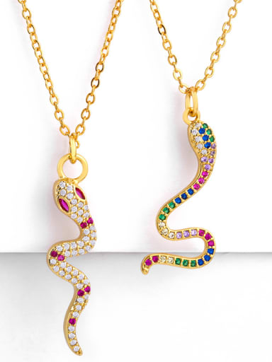 Copper With  Cubic Zirconia Personality Animal snake Necklaces