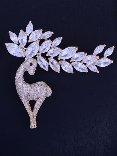 Copper With Cubic Zirconia Plated Cute Animal deer Brooches