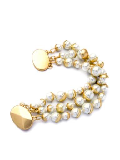 Fashion Generous  Multi Layer Artificial Pearl Alloy Bracelet