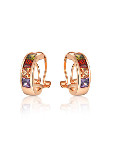 Multi-color Rose Gold Plated Zircon Clip On Earrings