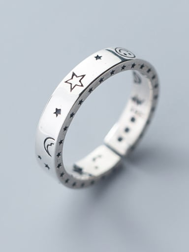 925 Sterling Silver With Platinum Plated Fashion Pentagram free size  Rings