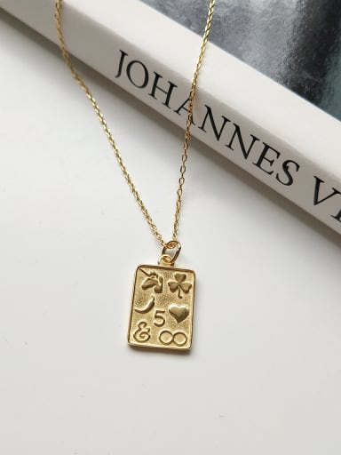 Sterling Silver geometric love Square  Necklace