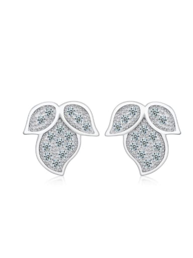 Creative Leaves Zircons Silver Stud Earrings