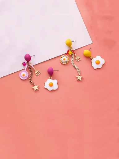 Alloy With Enamel  Fashion Asymmetry Poached Egg Star Sassel Drop Earrings