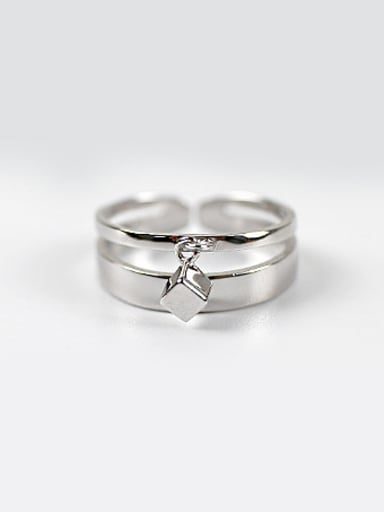 Personalized Two-band Smooth Little Cube Silver Opening Ring