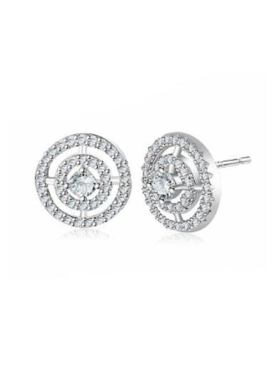 Elegant Double Round Shape Zircon Stud Earrings
