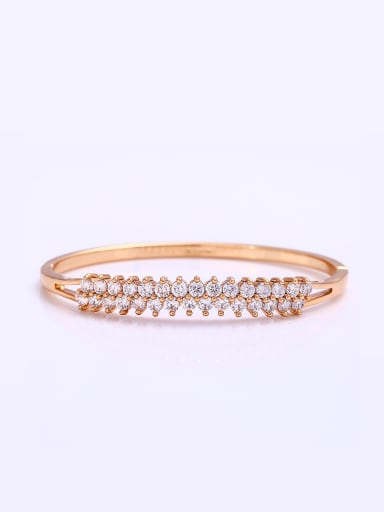 Copper Alloy 18K Gold Plated Fashion Zircon Bangle