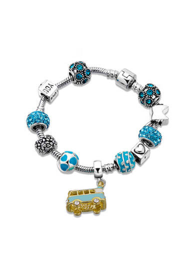 Blue Bus Shaped Rhinestones Enamel Bracelet