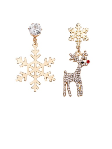 Alloy With Rose Gold Plated Fashion Asymmetry Snowflake Christmas Tree Elk Ear Studs  Drop Earrings