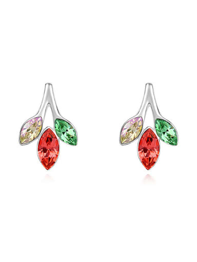 Fashion Marquise Swarovski Crystals Leaves Alloy Stud Earrings