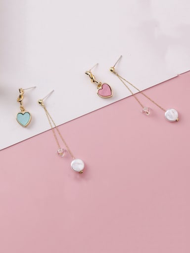 Alloy With Rose Gold Plated Simplistic Asymmetry Heart Drop Earrings