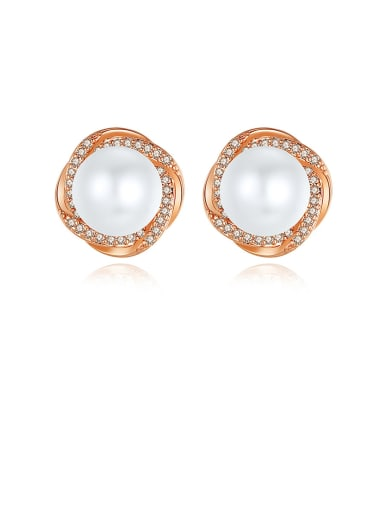 Copper With  Artificial Pearl Simplistic Flower Stud Earrings