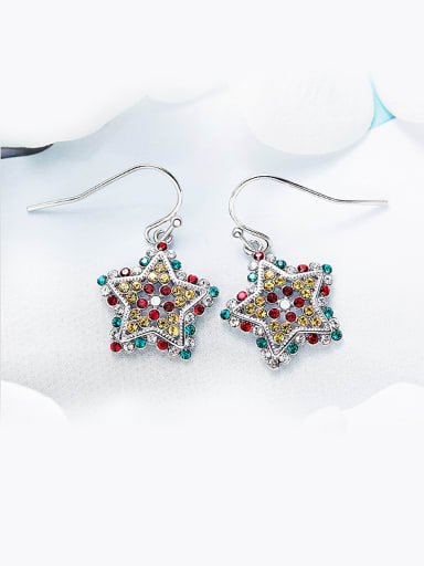 Five-point Shaped Multi-color hook earring