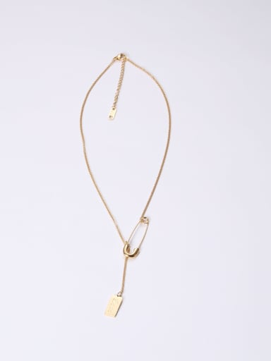 Titanium With Gold Plated Simplistic Geometric Pin Necklaces