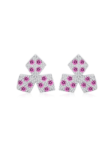 Geometric Shaped Color Zircons Personality Stud Earrings