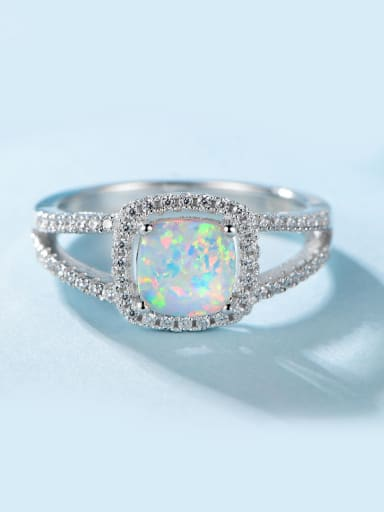 Square Opal Stone Ring