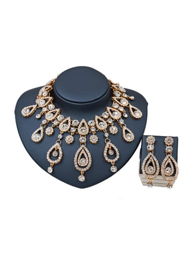 Exaggerated Water Drop Glass Rhinestones Two Pieces Jewelry Set