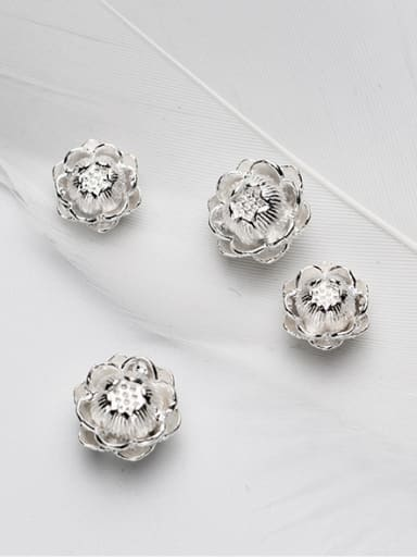 925 Sterling Silver With Silver Plated Fashion Flower Charms