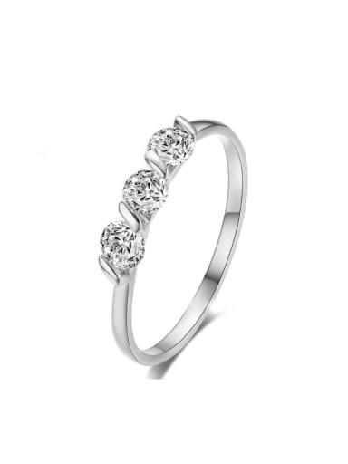Simple Shining Zircons Single Line Ring