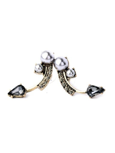 Personality Artificial Pearls Alloy Stud drop earring