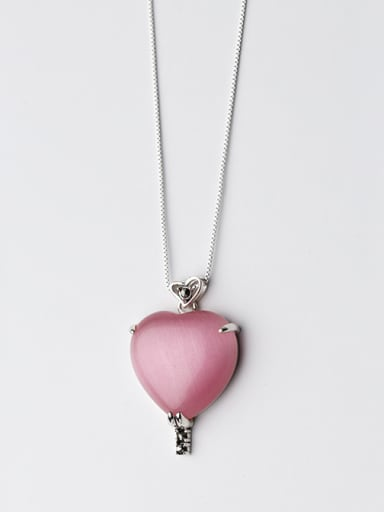Temperament Heart Shaped Pink Opal Silver Pendant