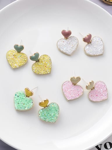 Alloy With Imitation Gold Plated Simplistic Heart Stud Earrings