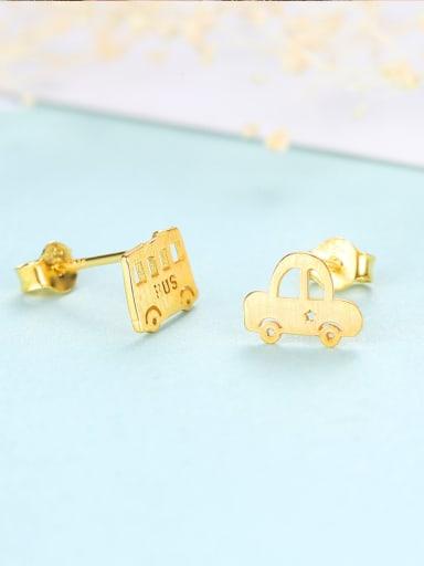 Sterling silver cartoon cute car bus stud earrings