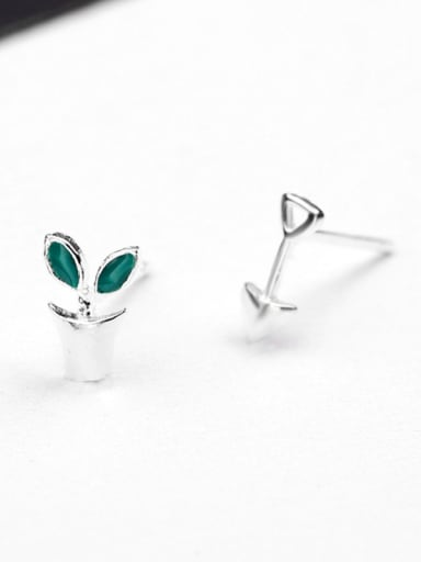 Tiny Potted Plant Stud Earrings