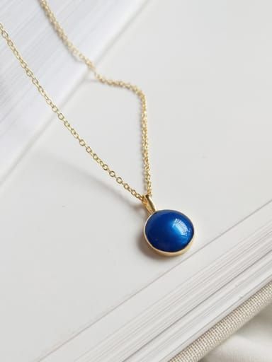 Sterling silver dark blue classic round gold necklace