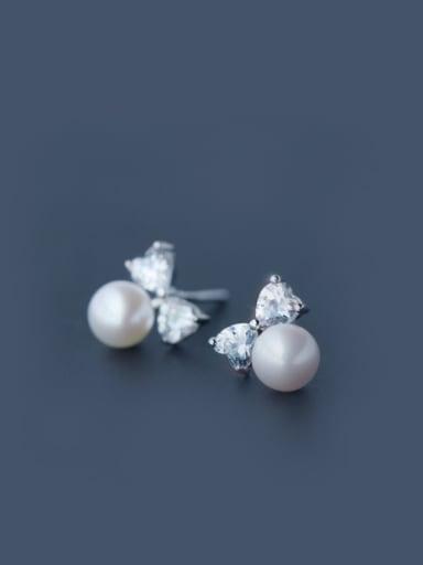 S925 Silver CZ Freshwater Pearl stud Earring