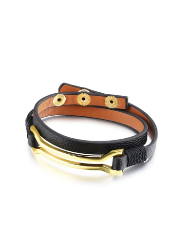 Fashion Two-band Artificial Leather Gold Plated Bracelet