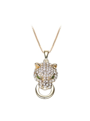 Personalized Leopard Head Zircon Gold Plated Necklace