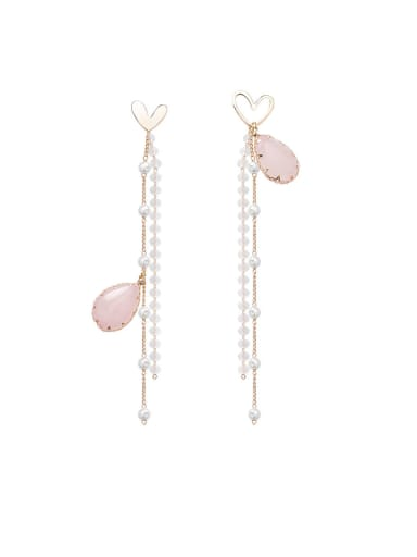 Alloy With Rose Gold Plated Bohemia Water Drop Threader Earrings