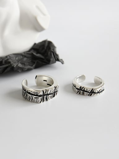 925 Sterling Silver With Antique Silver Plated Vintage Lovers ring