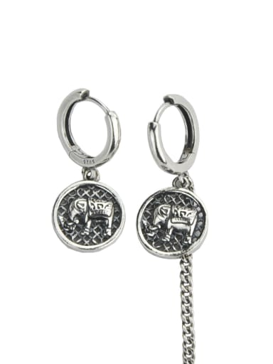 Vintage Sterling Silver With Simple Retro Baby Elephant  Clip On Earrings