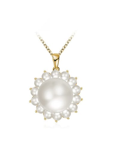 Exquisite Flower Shaped Artificial Pearl Necklace