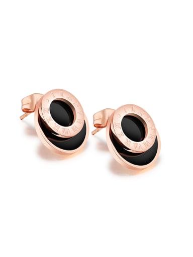 Simple Black Round Roman Numerals Titanium Stud Earrings