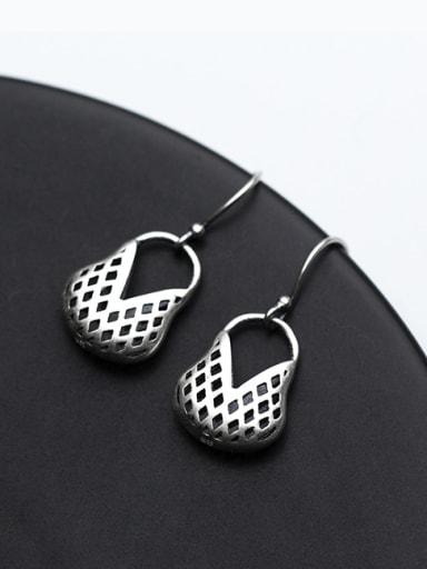 Vintage Hollow Basket Shaped S999 Silver Drop Earrings