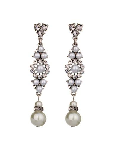 Alloy Artificial Pearls Drop Chandelier earring