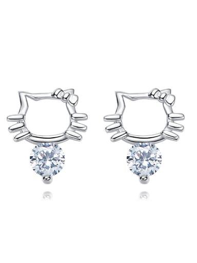 Fashion Tiny Kitten Cubic Zircon 925 Silver Stud Earrings